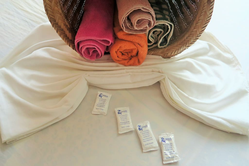 Fresh linen, towels and soap are included.