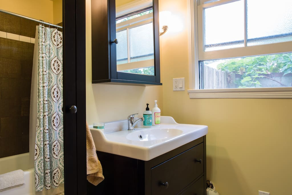 Your personal bathroom. There is a sconce on each side of the mirror so you'll be well lit when you're getting ready.