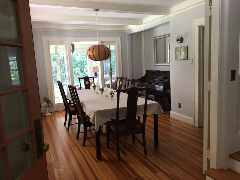 dining room with attached sunroom