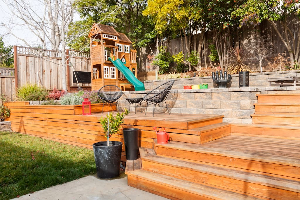 Backyard with playstructure