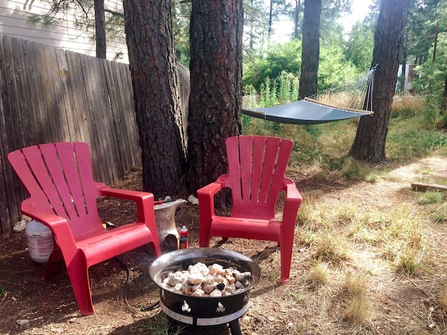 Private Fire Pit - Propane is safer than wood, and hot like a real fire.