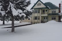 ranch house in the winter