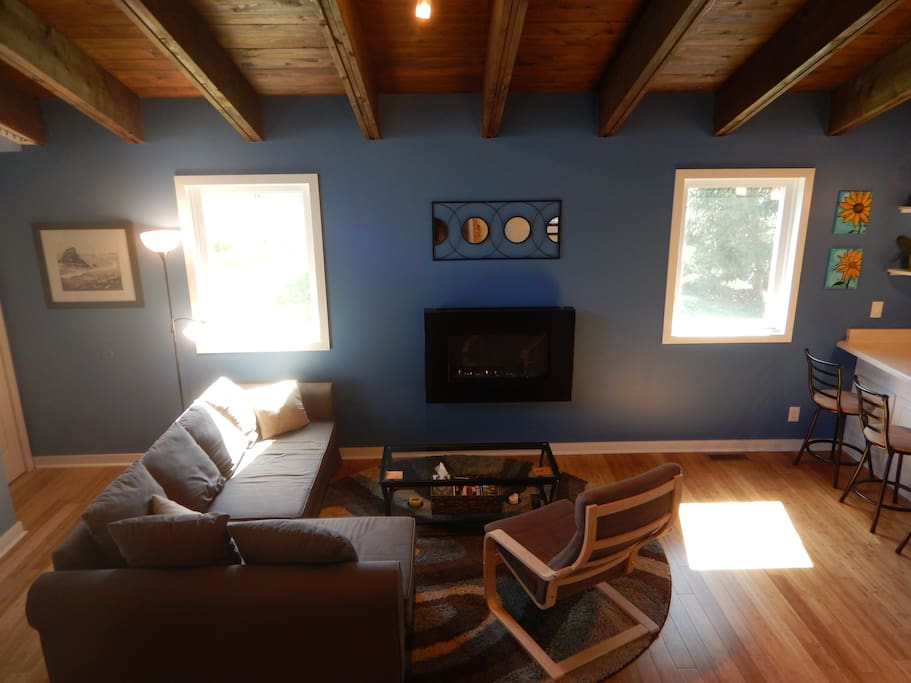 Living area with propane fireplace, new windows and new dimmable lighting