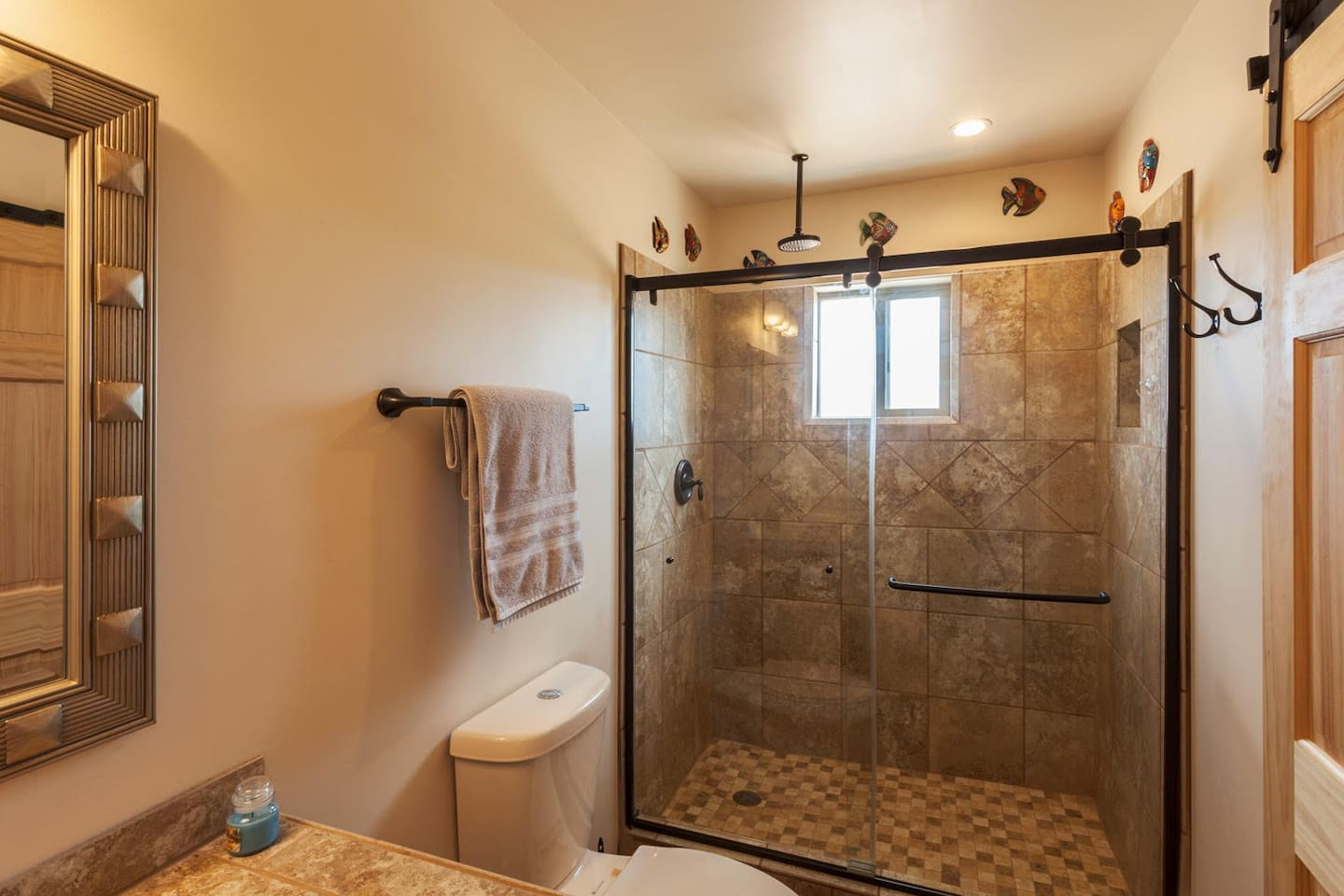 Master bath with walk in rain shower.