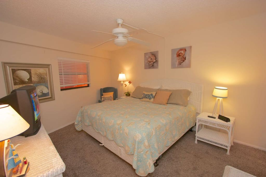 Wind down after a Fun Filled day in this Lovely Master Bedroom with King Bed, and Cable TV
