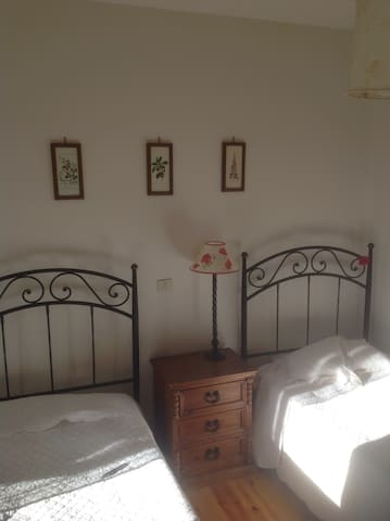 A twin bedroom at the top of the house