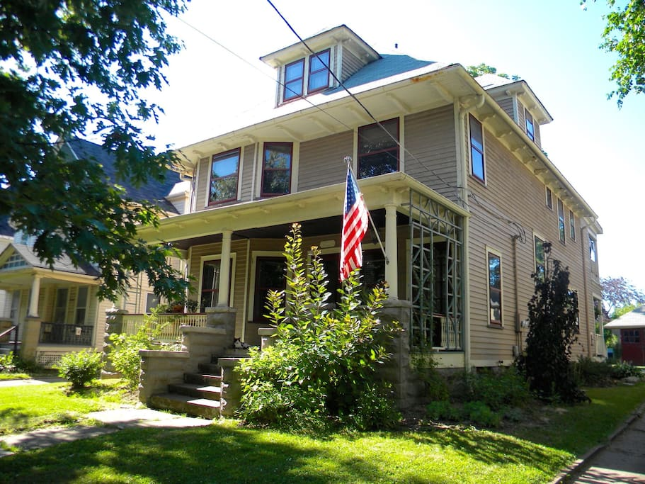 Front view of century home, located in the National Historic District of Brooklyn Centre.