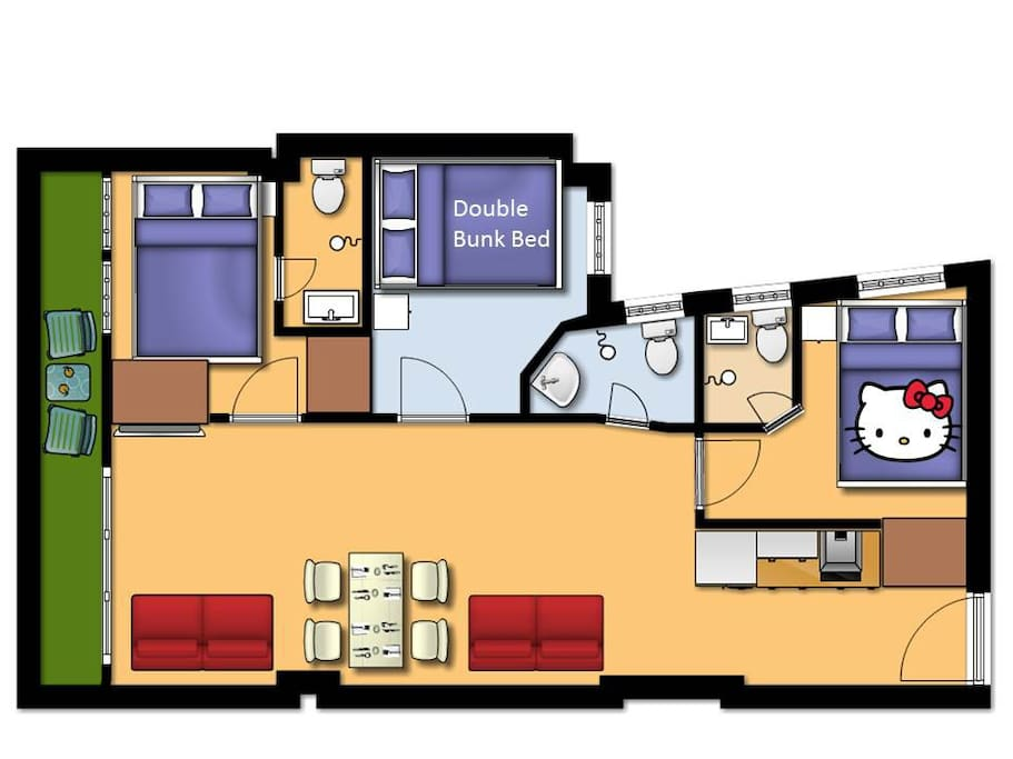 Floor Plan - 3BR 3WR neat and warm apt (Home Sweet Home)