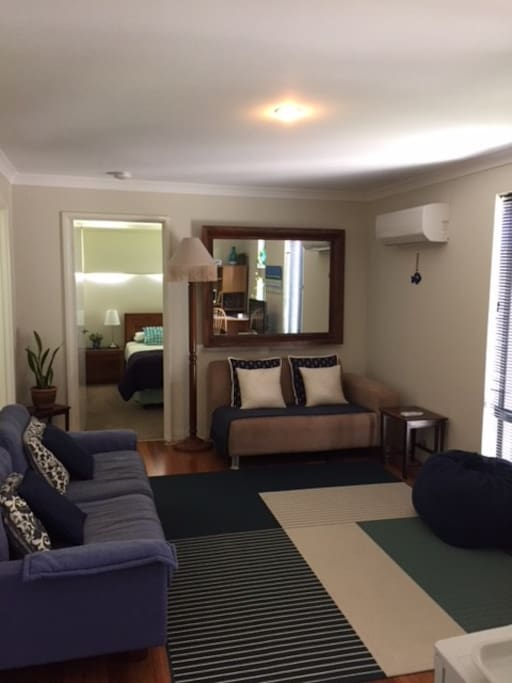 Large, separate, private lounge, with TV, aircon, fridge and kitchenette.
