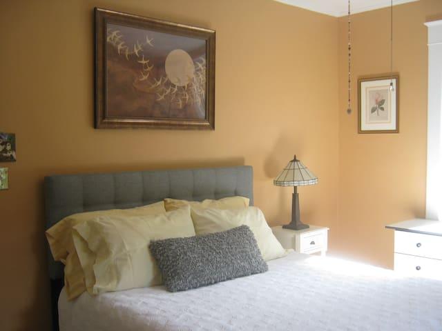 Sunny Tangerine Room w Queen Bed