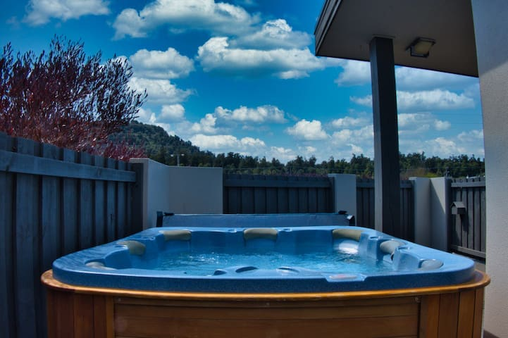 Private spa pool, with mountain views