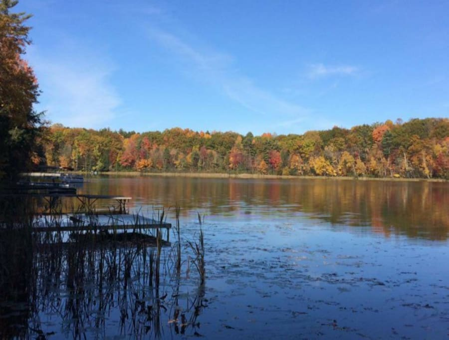 View from the dock in fall. Breathtaking scenery