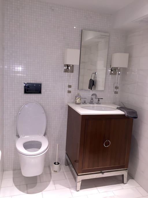 Private Half bath in First level of Dupllex Home