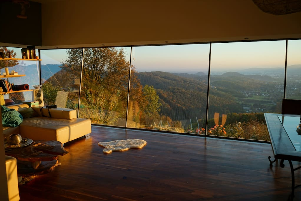 Our living room with view over Graz