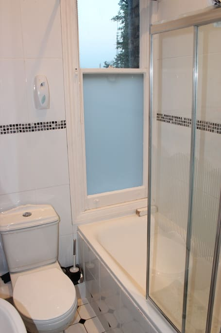 private bathroom facilities with shower  over bath