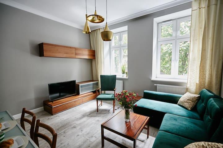 Stylowy apartament Green dla 4os. Chorzów/Katowice