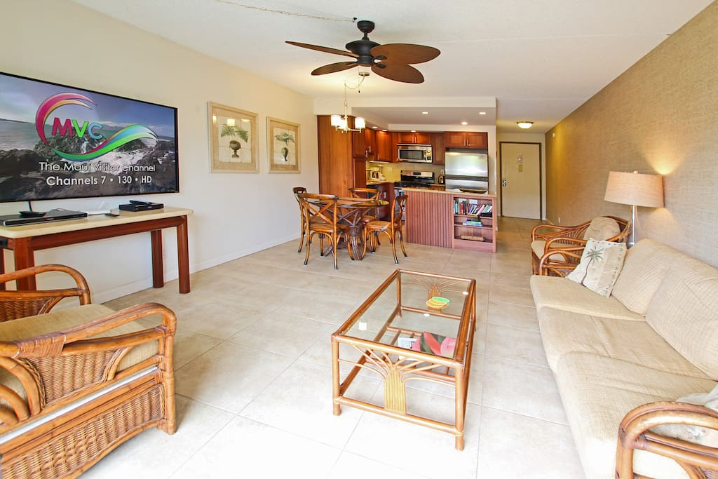 View of the Living Area which features island-style furnishings plus a large screen TV and DVD player