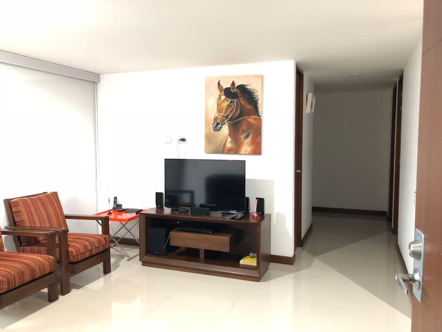 Sala de televisión con teatro en casa