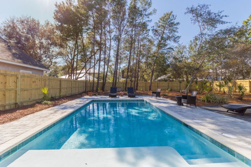 Saltwater pool can be heated seasonally for your convenience