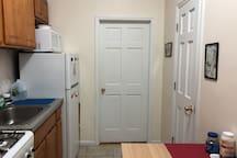 On the right: bathroom door