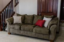 The sofa in the walkout basement