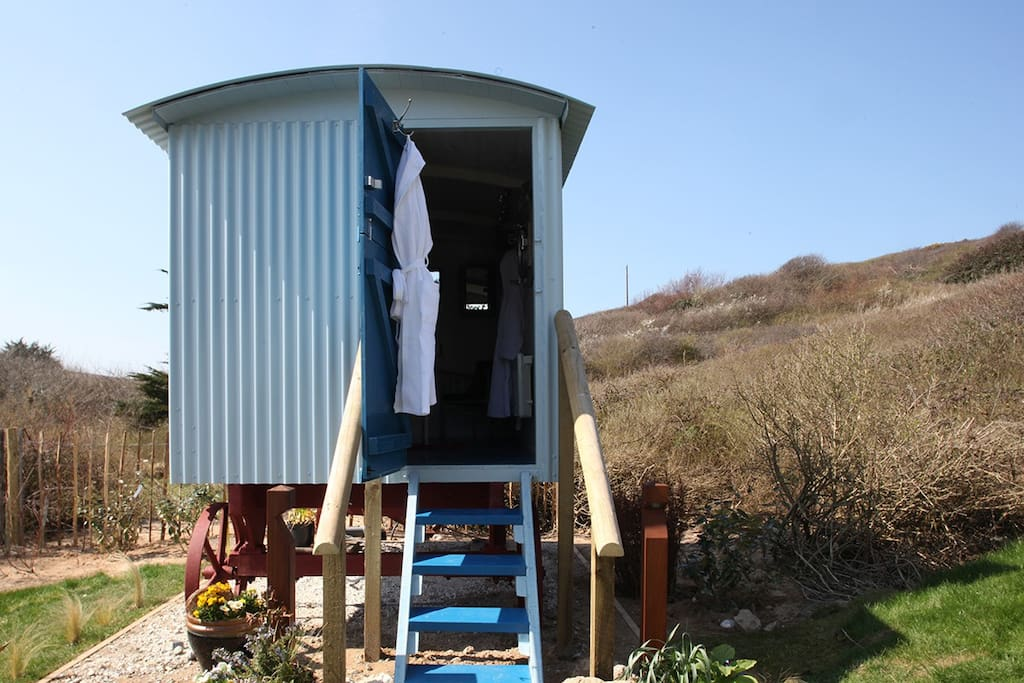 Shepherd's hut toilet and wash room