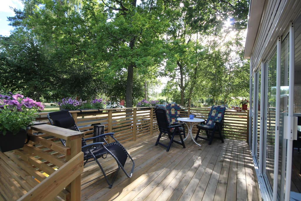Decking with garden furniture