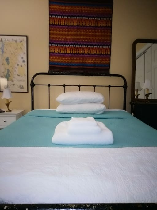 White sheets and towels are sanitized with each stay.