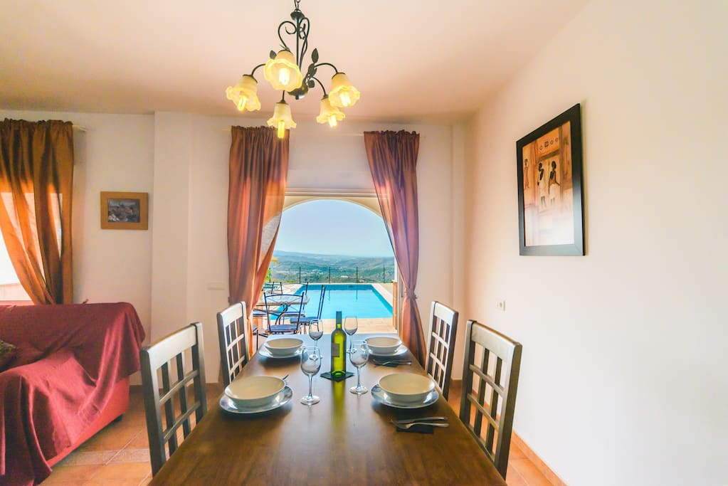 Magnificent views from the dining room at Villa El Botin.