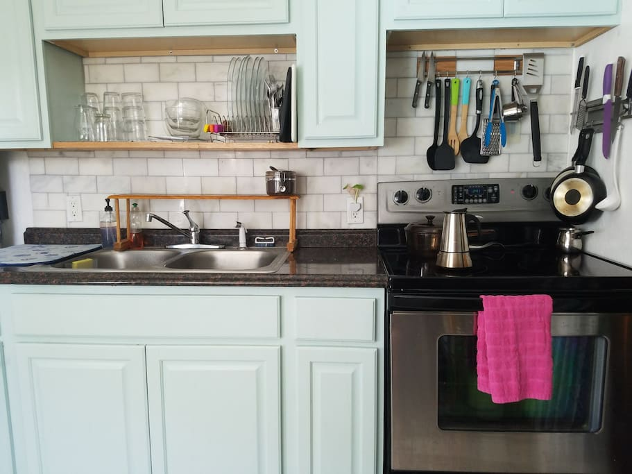 Fully equipped kitchen, oven, range, microwave, utensils and cookware are all available for guests to use.