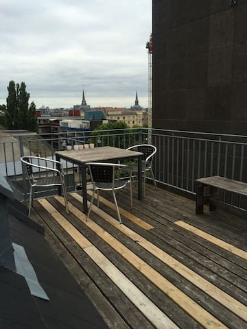 View over Copenhagen from the private rooftop