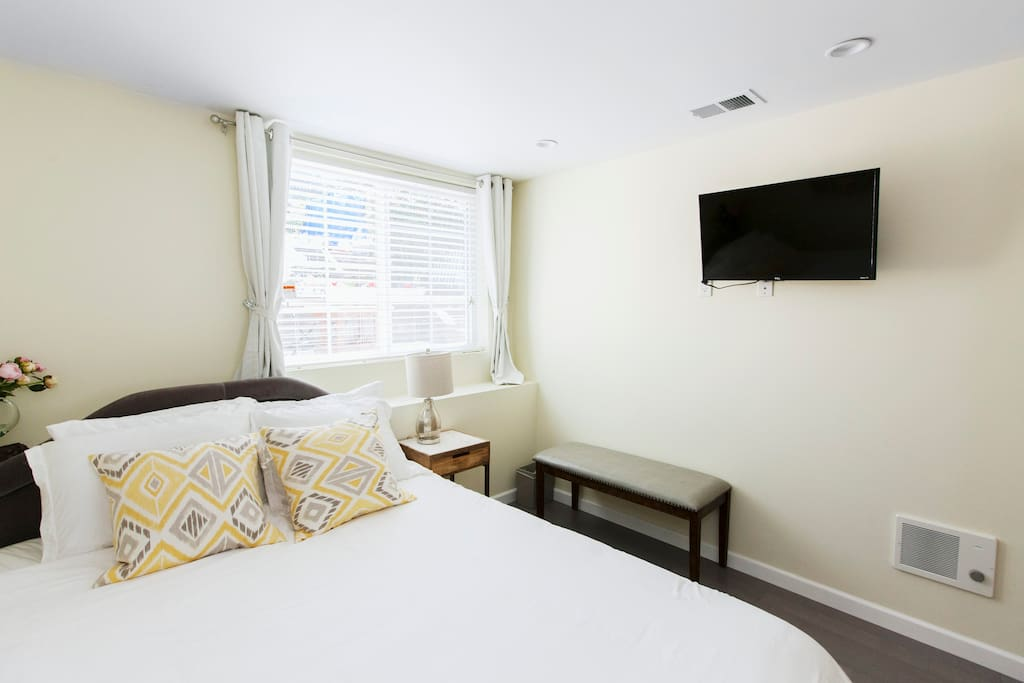 Brand new bedroom with queen-sized bed and TV with Netflix