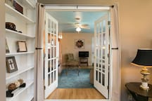 French doors open into the living room