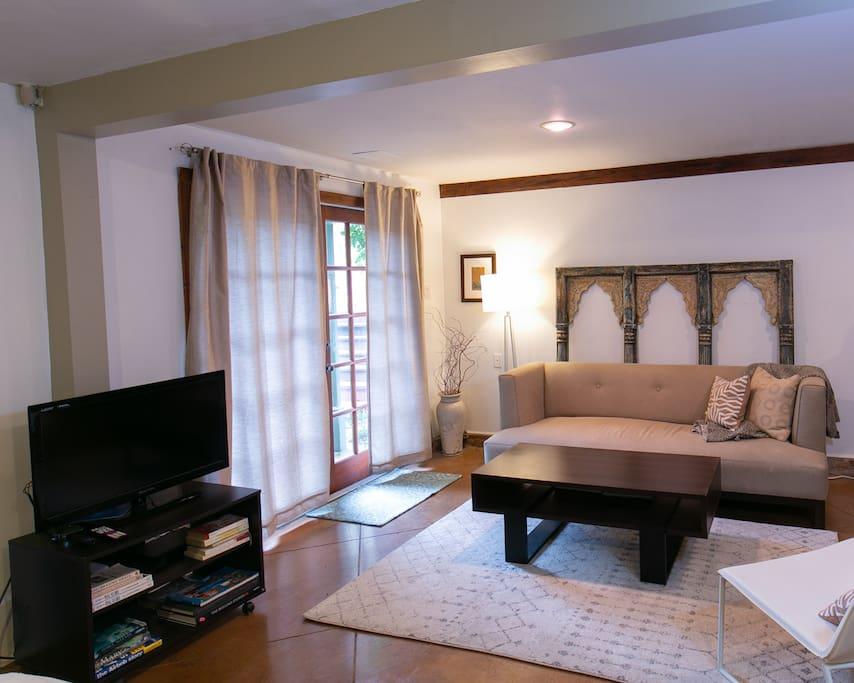 main sitting area with CB2 sofa