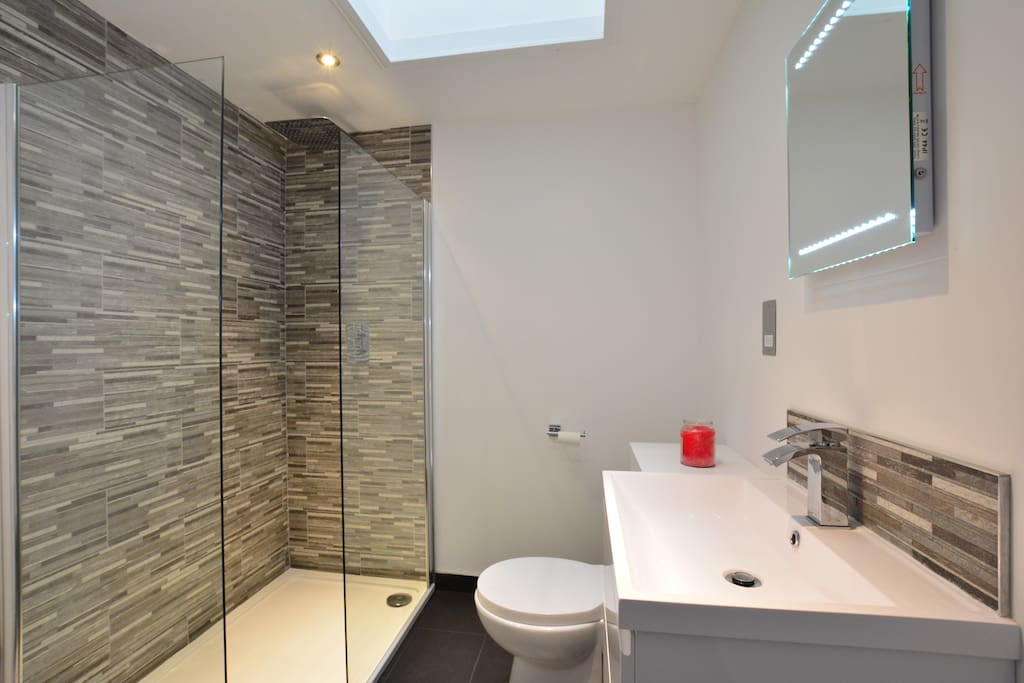 New bathroom with shower, basin and WC