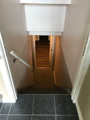Stairs leading to basement suite