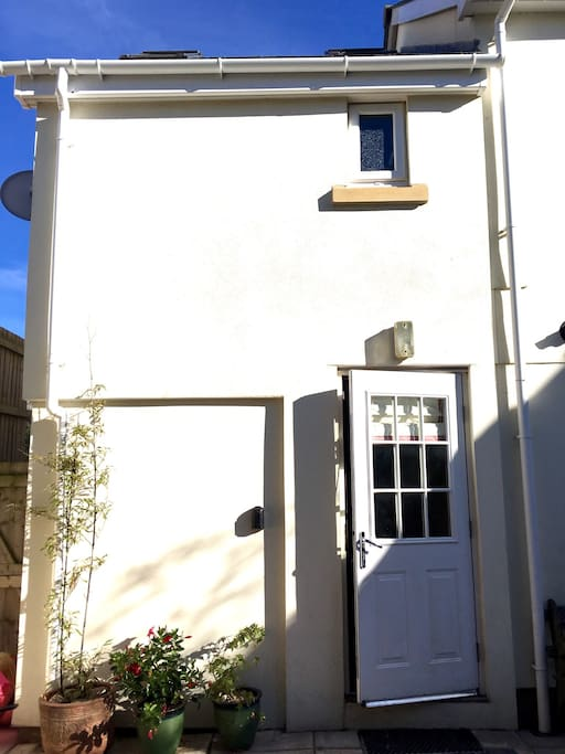 Annexe entry door at back of building.  Guests have a key to this separate entrance so to come and go at leisure.
