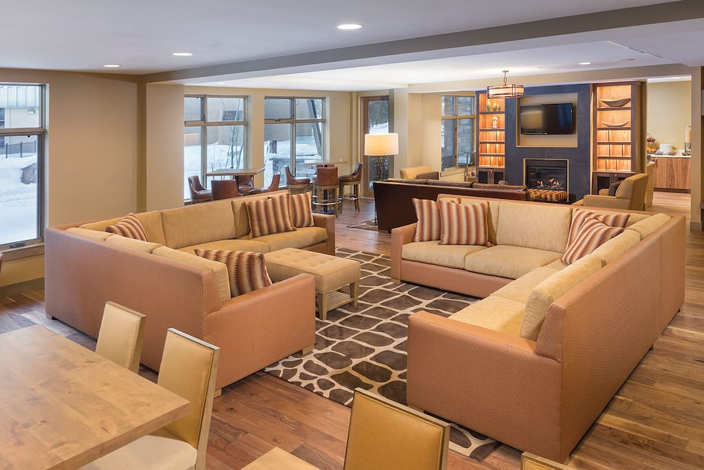 Lobby seating area with hot coffee provided all day