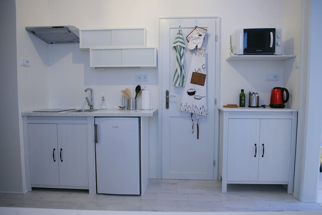 The kitchen is fully equipped (burner, refridgerator with small frrezer, kettle, microwave and dishes).
