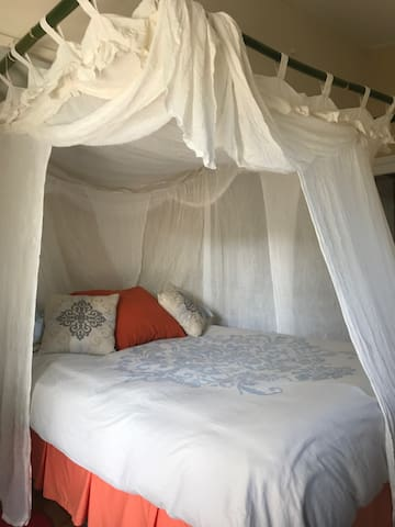 Cozy and supremely comfortable Queen size bed with 100% cotton mosquito net