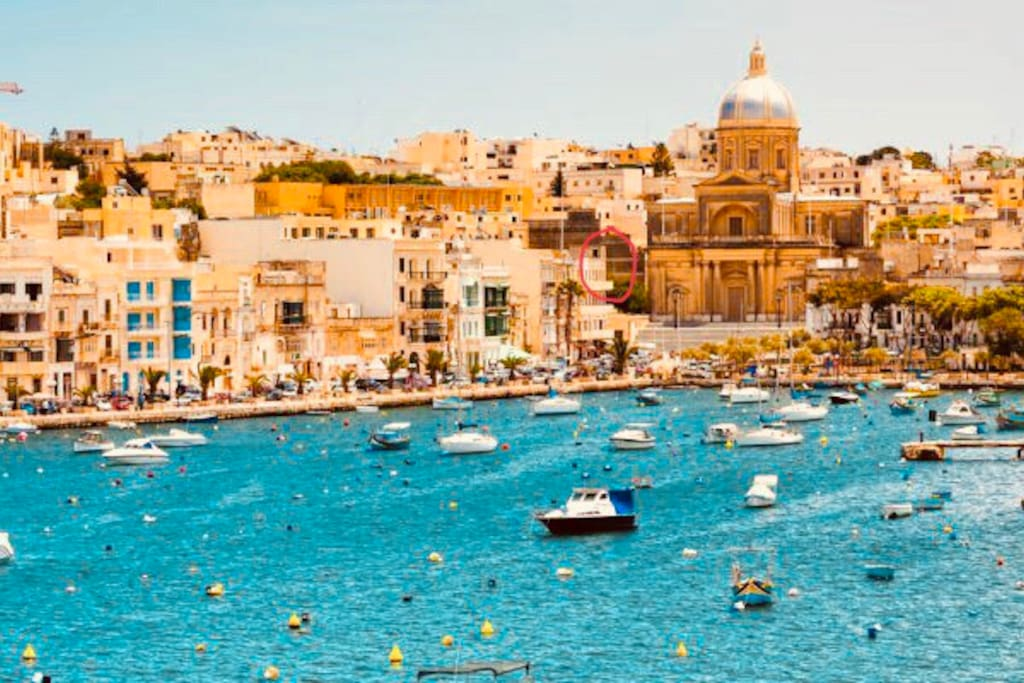 Pic  taken from Valletta(capital city) .We are here (red circle) best location in this beatiful town of Kalkara
