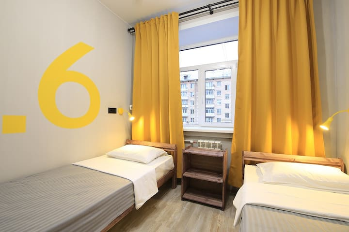 Двухместный номер 2 кровати. Парк Сокольники 7 мин