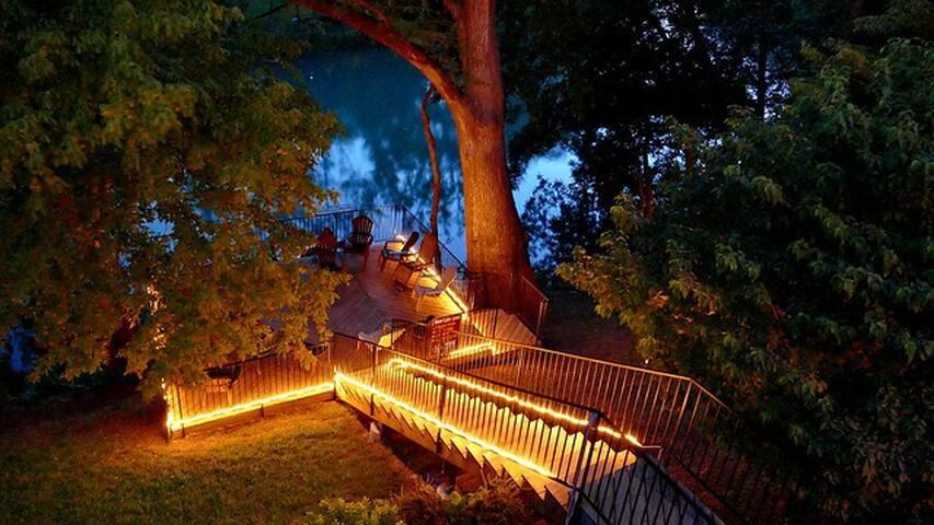 River deck at dusk