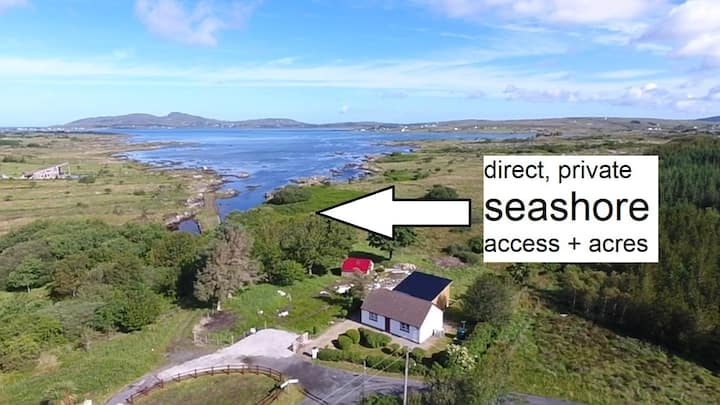 NEW Waterfront cottage + PRIVATE SEASHORE, dogs OK