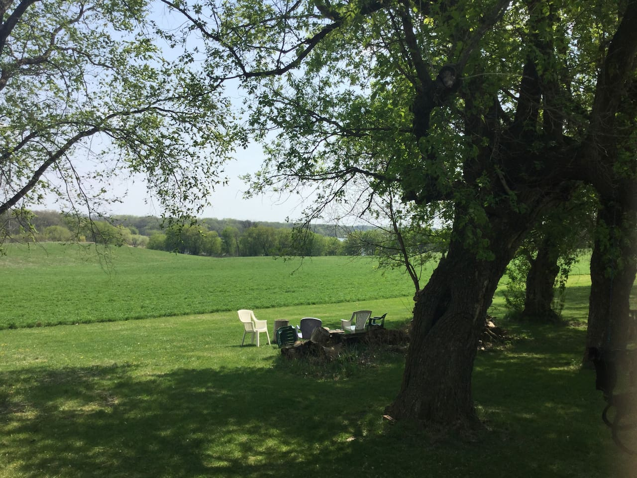 Privacy and beautiful views of the farm fields and lake.