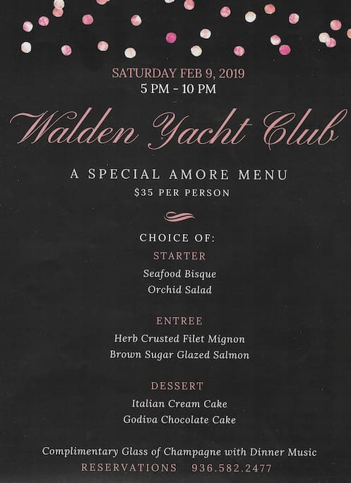 WYC menu for Sat., 2/9. WYC reservations are optional when booking our Airbnb. **Cost of dinner not included in Airbnb reservation.**