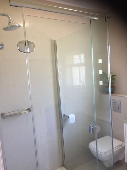 Private shower and toilet for guests