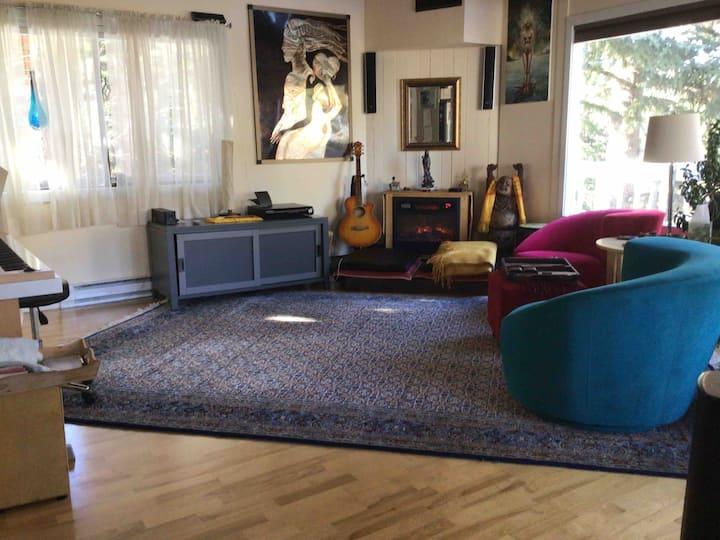 Spacious room in wellness retreat.