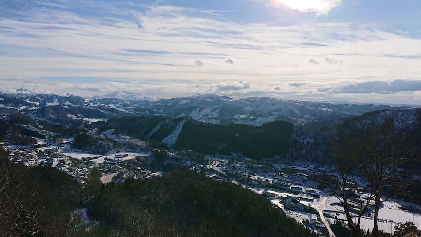 Oversiktsbilde fra Lonevåg  om vinteren