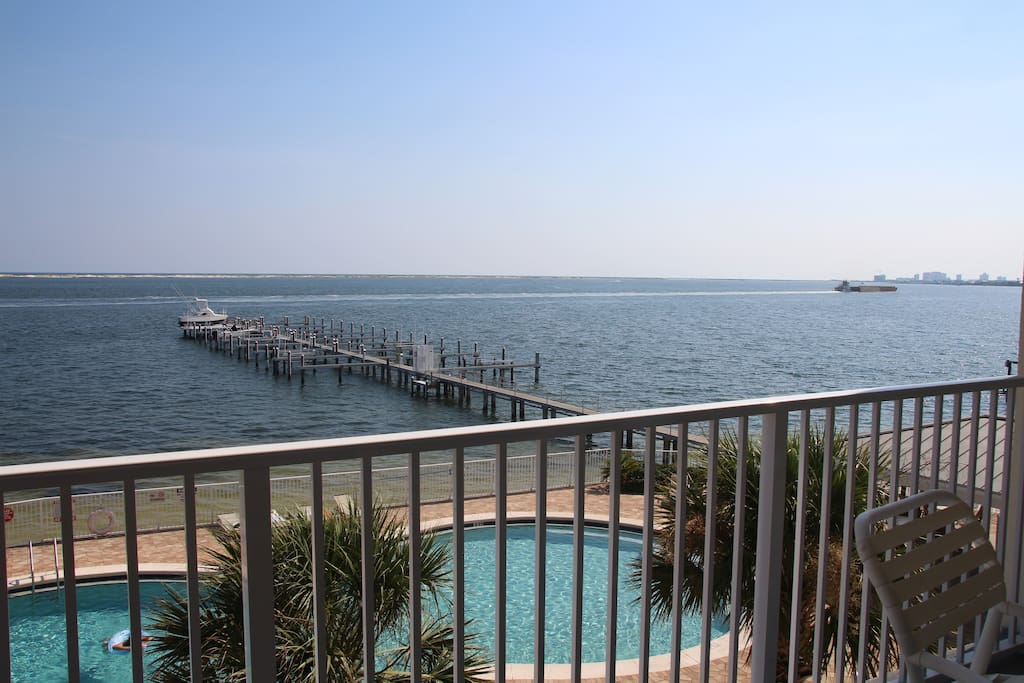 Looking out  over the Inter-coastal waterway and pool